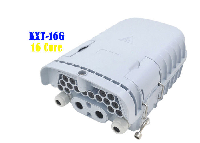 16 Core Fiber Optic Distribution Box Gray PC ABS PE Wall Hanging Pole Installation