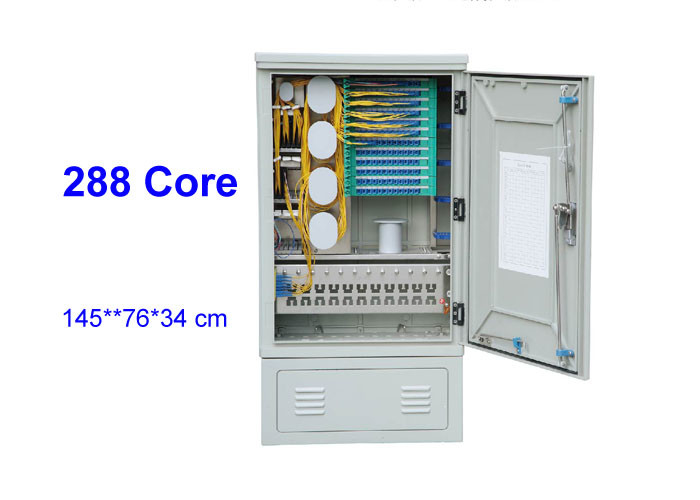 Outdoor 144 288 576 Core SMC Rack Fiber Optic Distribution Box Connection Cabinet Floor Standing